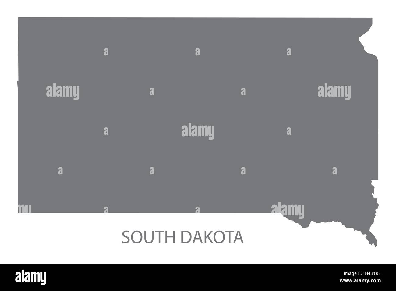 South Dakota USA Map In Grey Stock Vector Art Illustration - South dakota in usa map