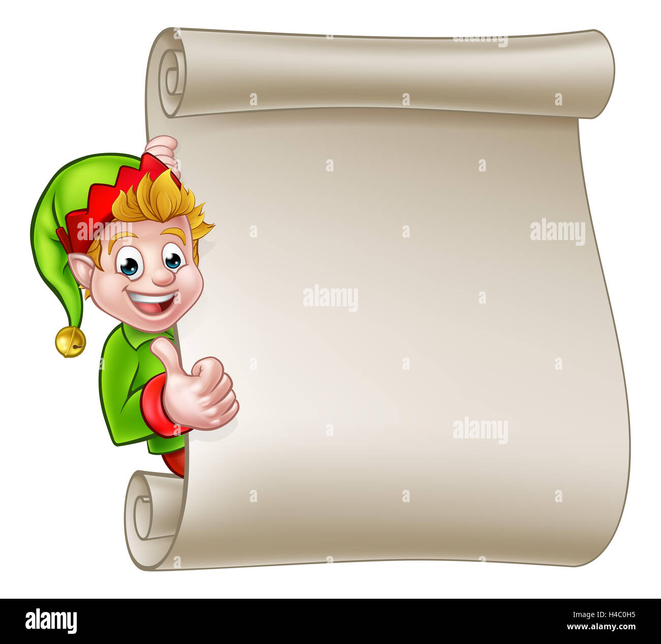 A cute cartoon christmas elf peeking around scroll sign