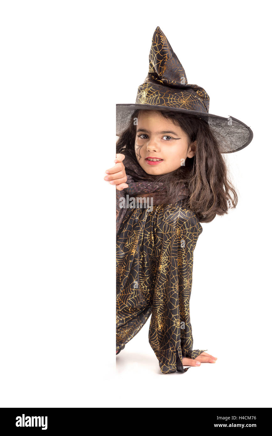 Girl with face-paint and Halloween witch costume isolated in white ...