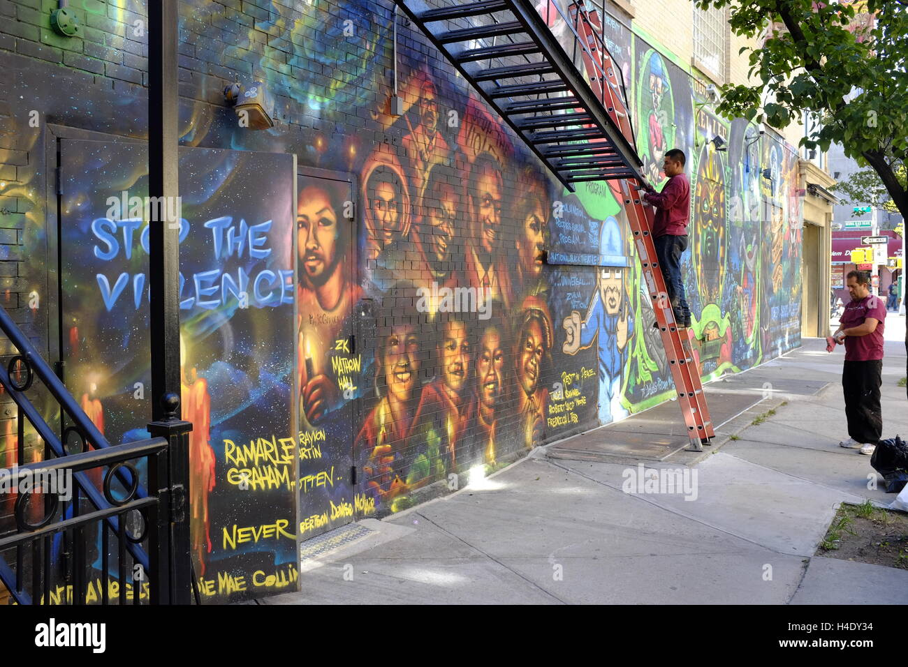mural on the wall of the national black theatre in harlem harlem mural on the wall of the national black theatre in harlem harlem new york city usa