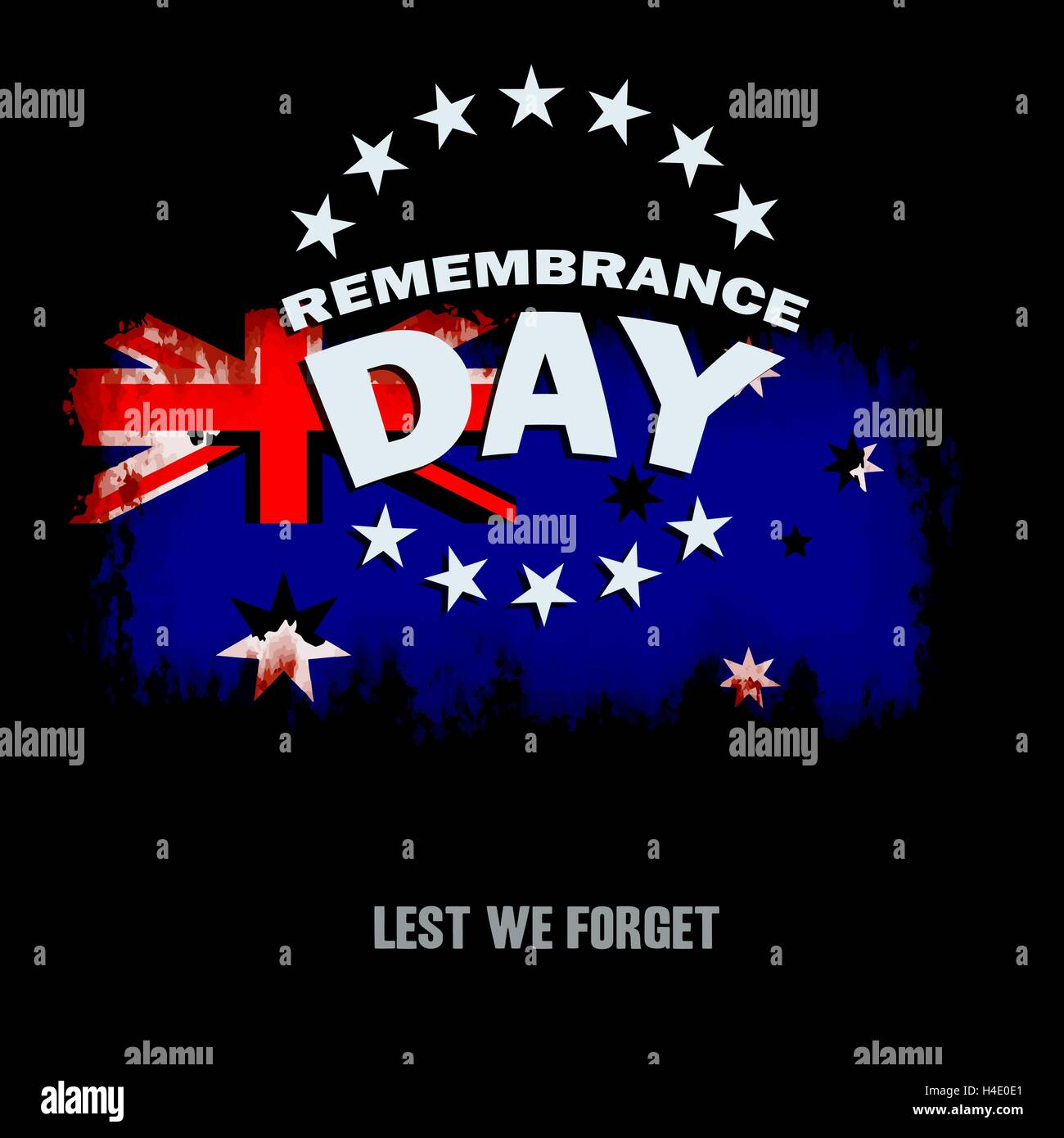 grunge australian flag on dark background with remembrance day and