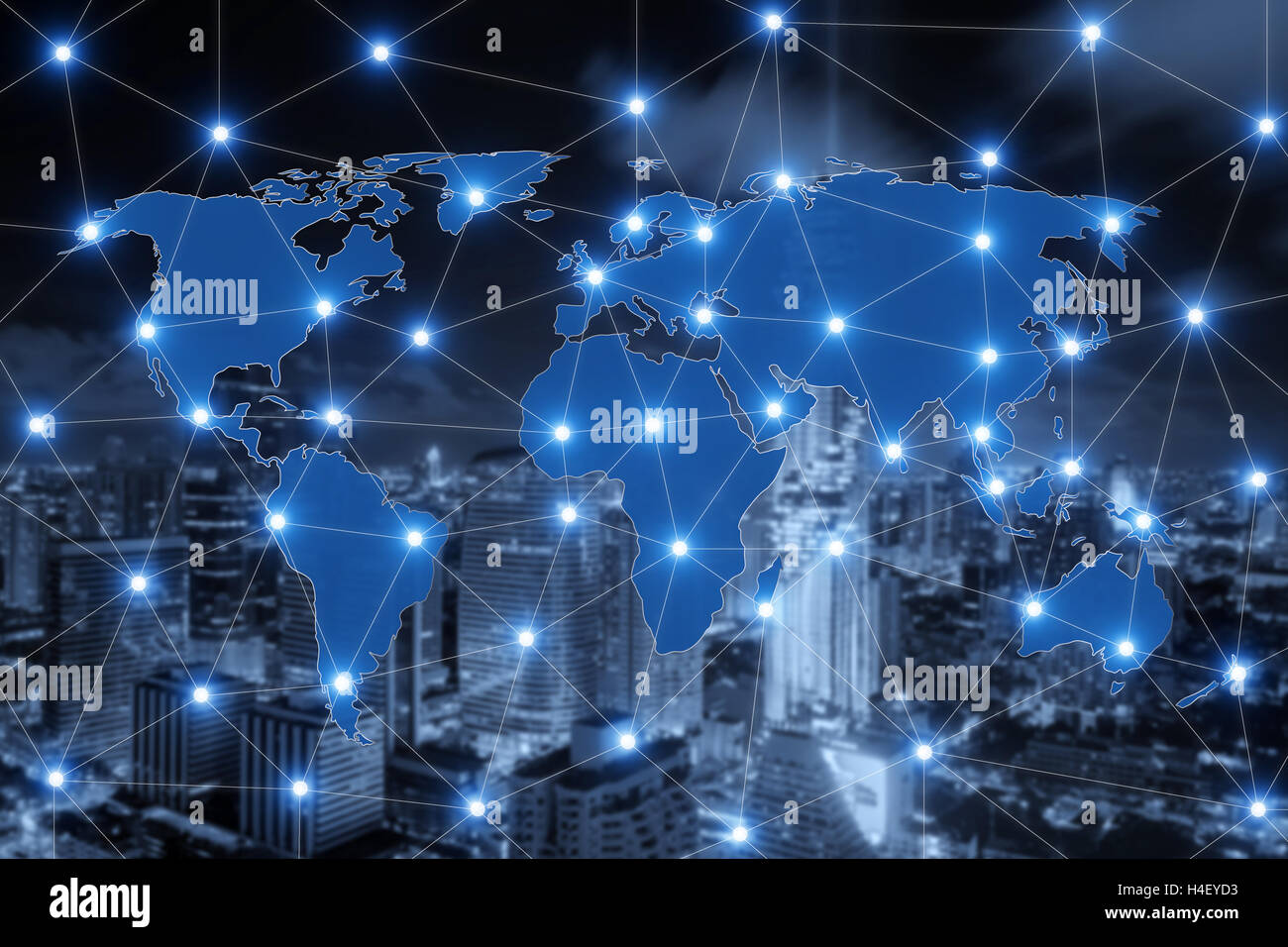 World map connection and blurred city of business center