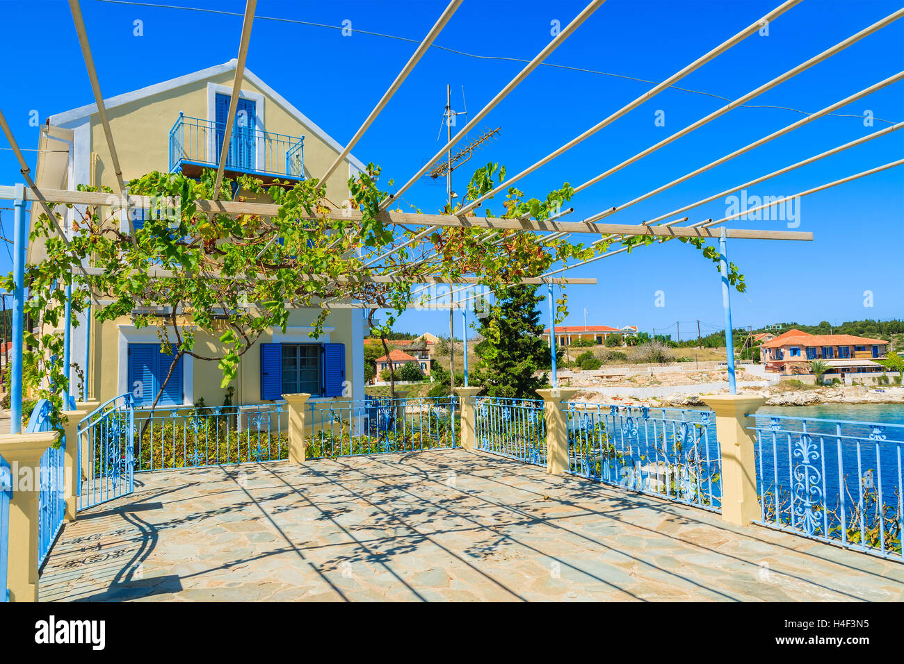 Traditional Greek House traditional greek house with vine growing on terrace in fiskardo