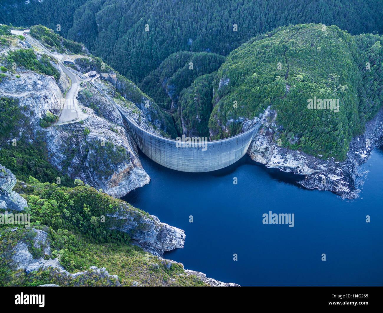 Aerial view of Gordon Dam and lake. Southwest, Tasmania, Australia Stock Photo, Royalty Free ...