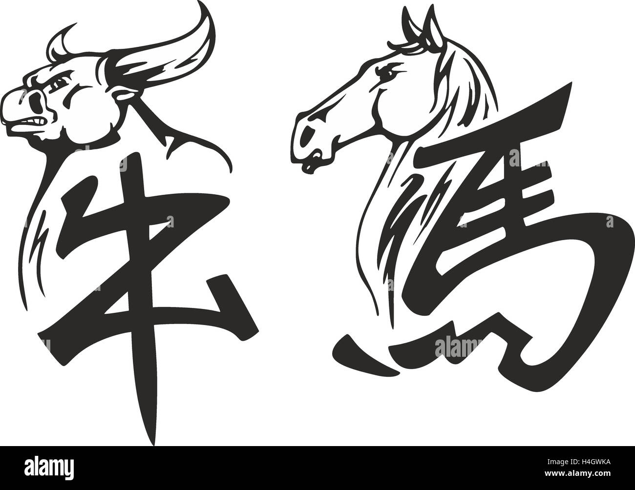 Outline Black And White Vector Tattoo Sketches Of Bull And