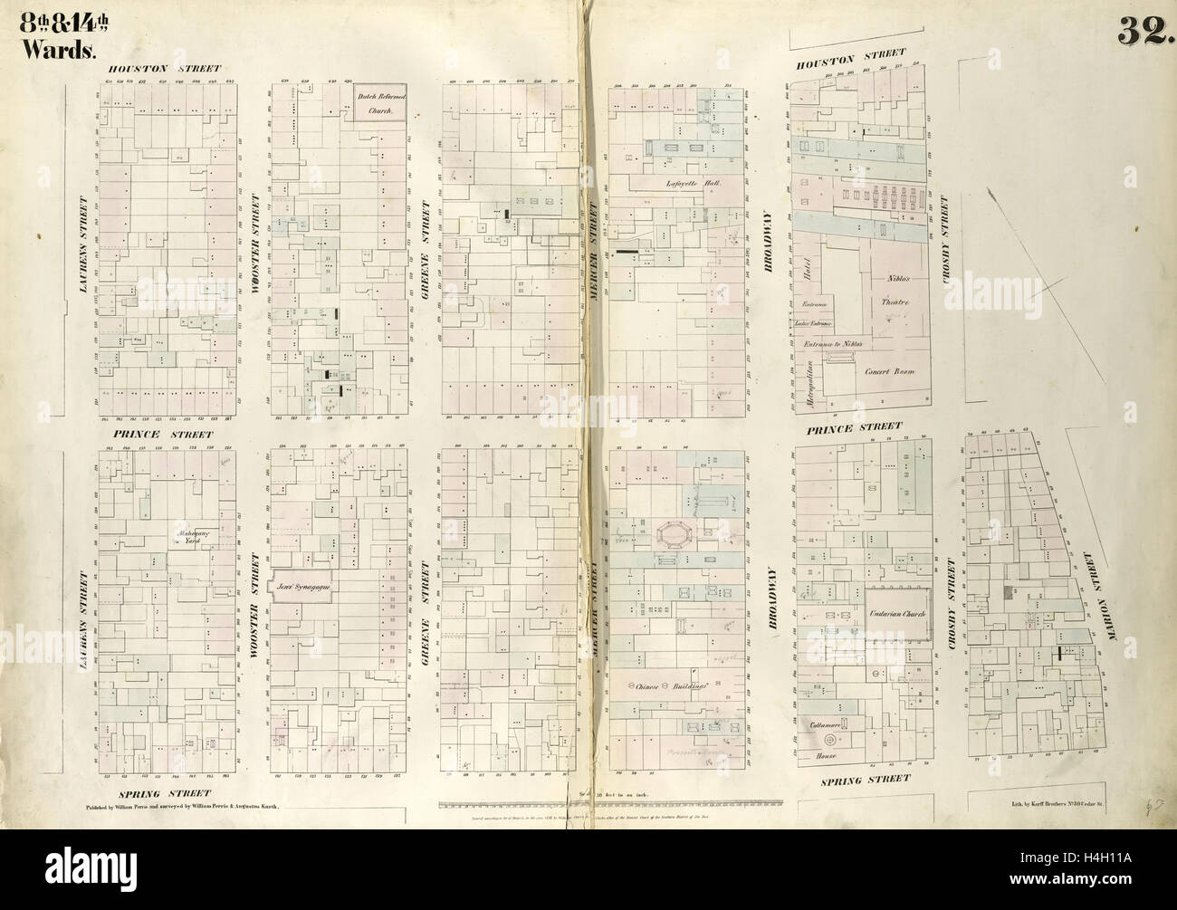 Plate 32 Map bounded by Houston Street Crosby Street Prince Stock