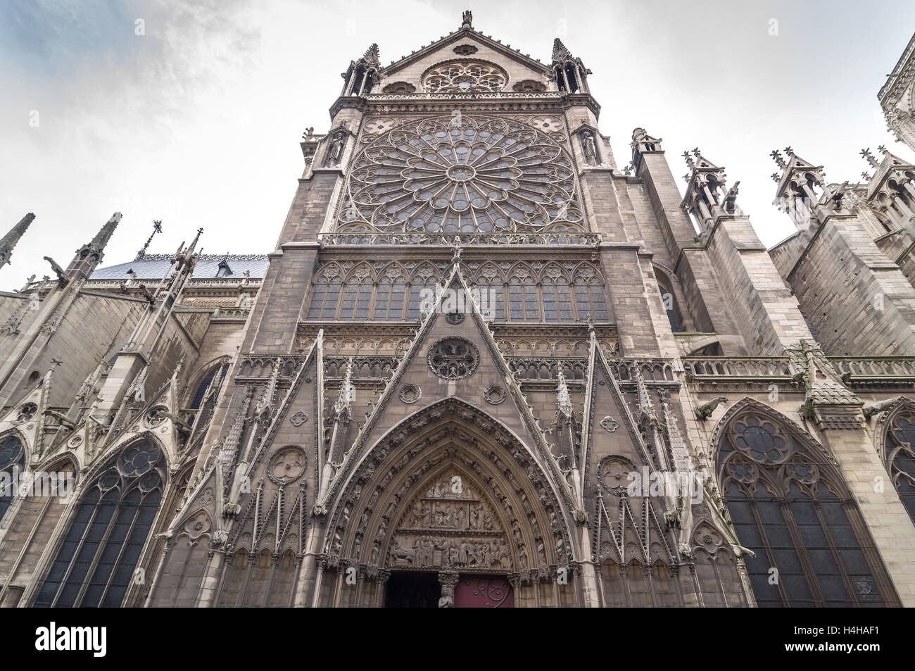 The North Facade Of Catholic Cathedral Notre Dame De Paris Built In French Gothic Architecture