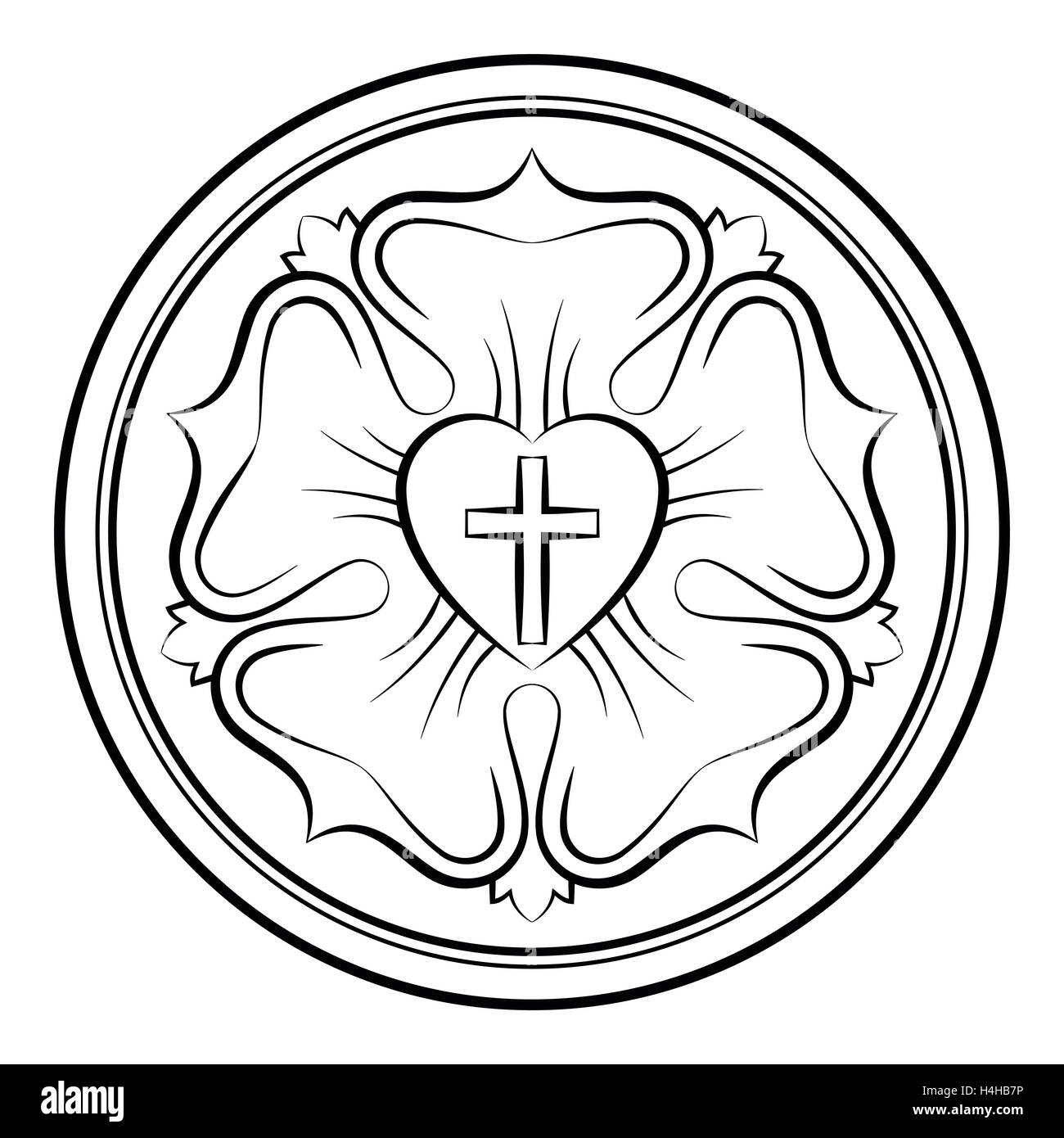 martin luther s seal coloring page luther rose monochrome calligraphic illustration also