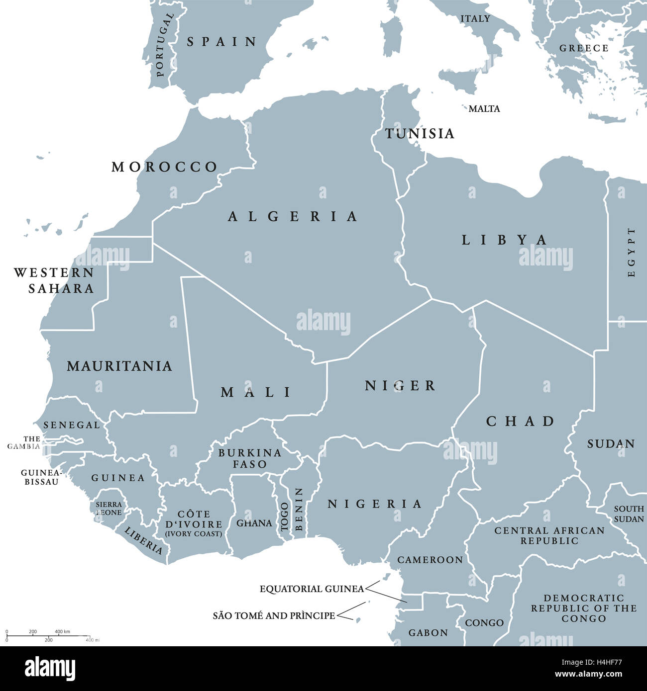 West africa countries political map with national borders english west africa countries political map with national borders english country names illustration gray illustration gumiabroncs Images