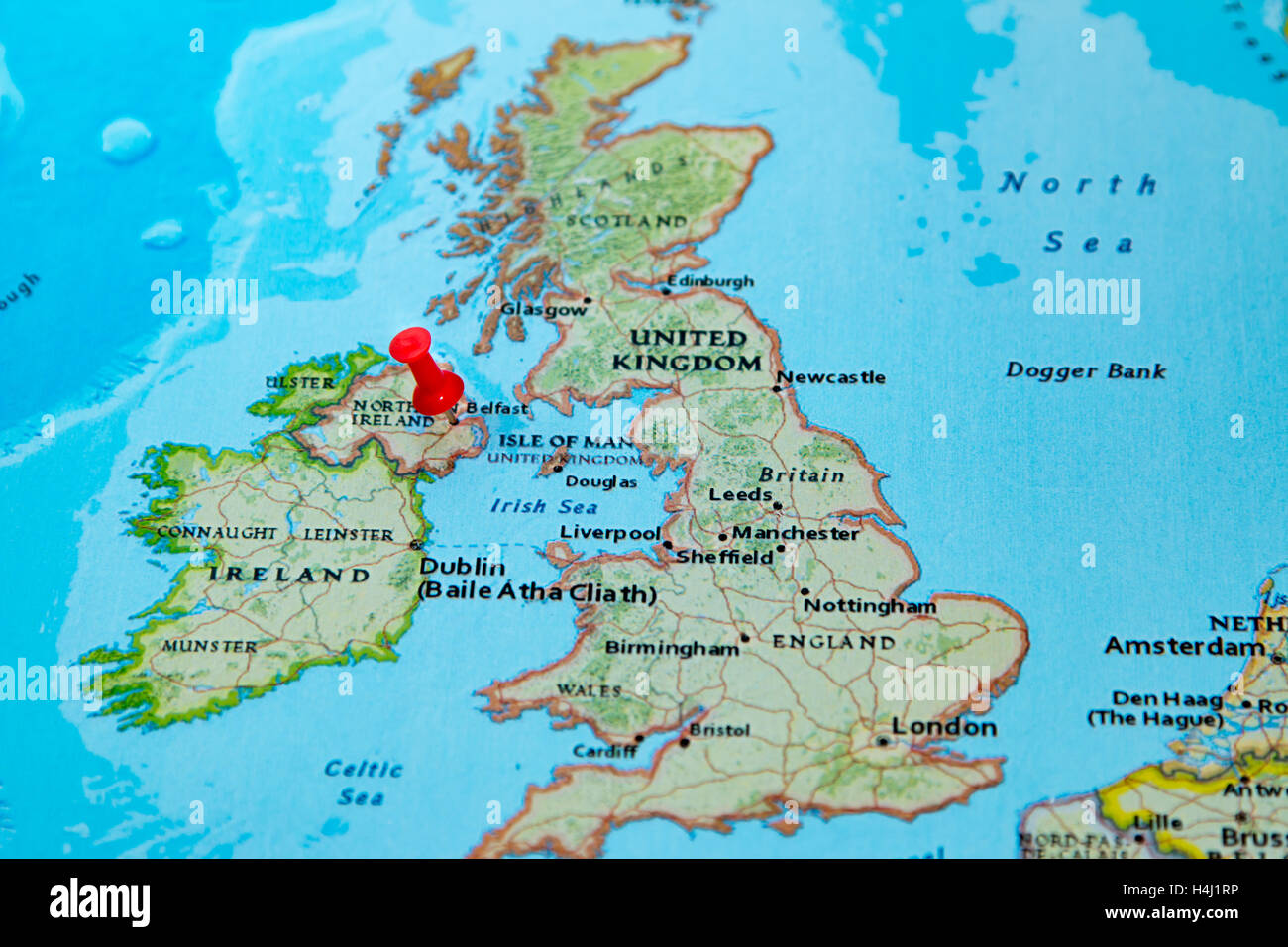 Belfast Northern Ireland UK Pinned On A Map Of Europe Stock - Ireland on map