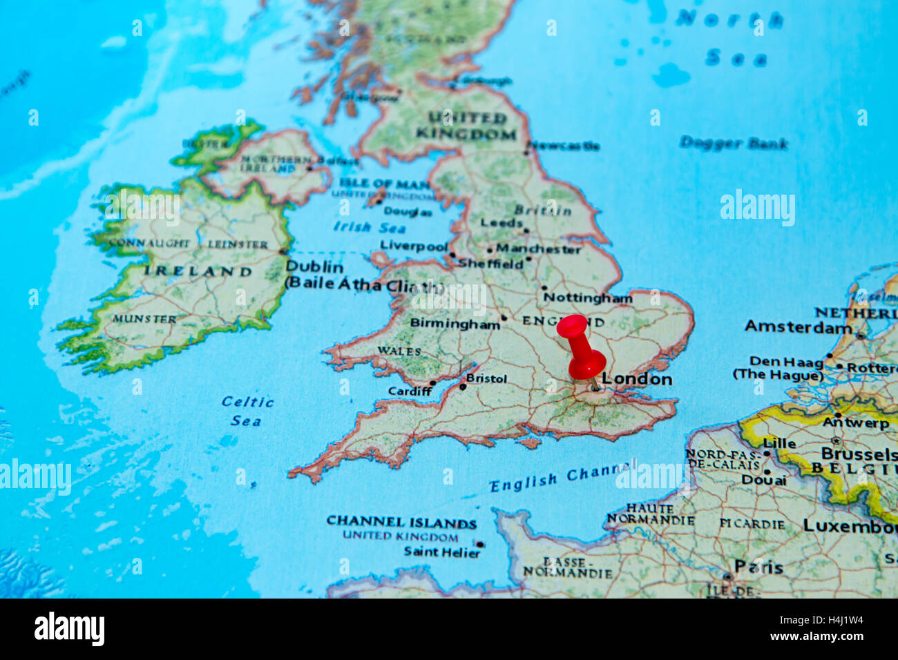 London UK pinned on a map of