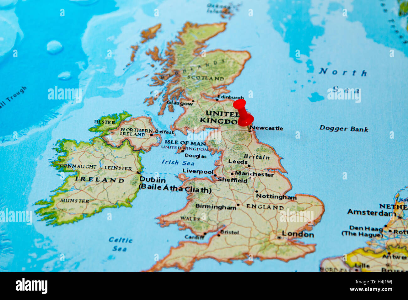 Newcastle Uk Pinned On A Map Of Europe Photo Royalty – Europe and Uk Map