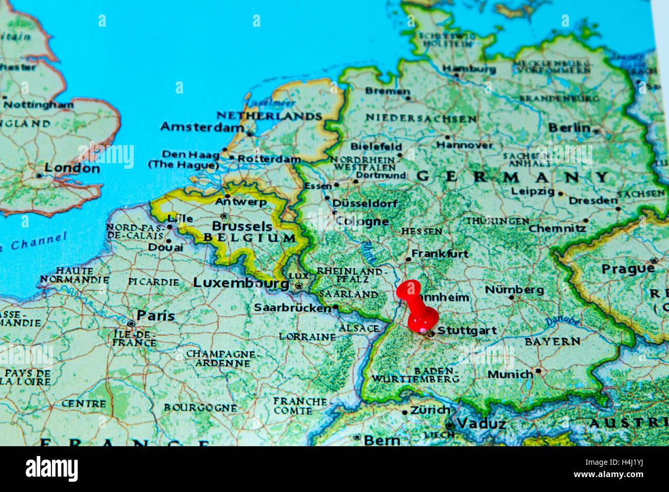 Stuttgart Germany Pinned On A Map Of Europe Stock Photo Royalty - Germany map stuttgart