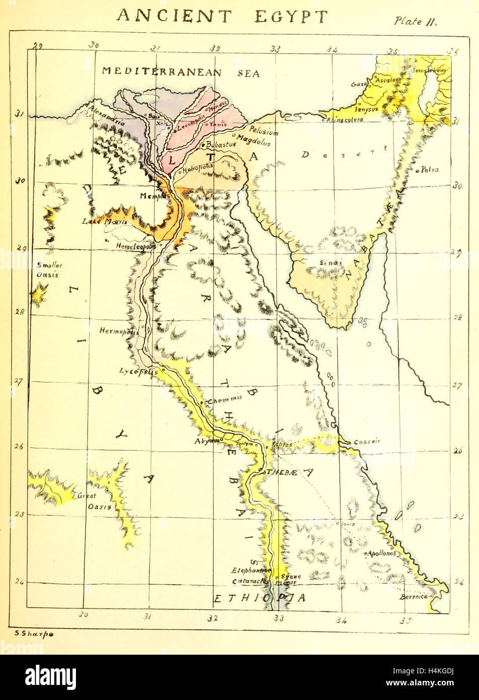 Map ancient egypt 19th century engraving stock photo royalty map ancient egypt 19th century engraving gumiabroncs Images