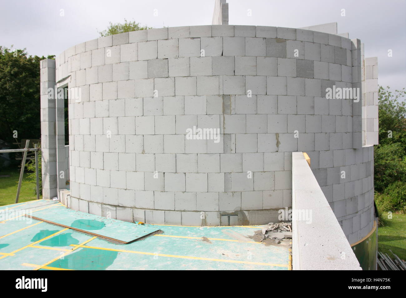 Build A New House concrete blocks used to build a circular turret room on a new