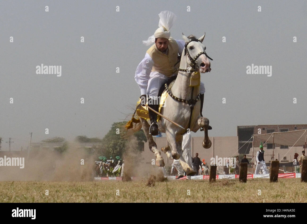 Pakistani horse rider player in action during National Tent Pegging ch&ionship 2016 held at Headquarters Pakistan Rangers (Punjab) in & Lahore Pakistan. 17th Oct 2016. Pakistani horse rider player in ...