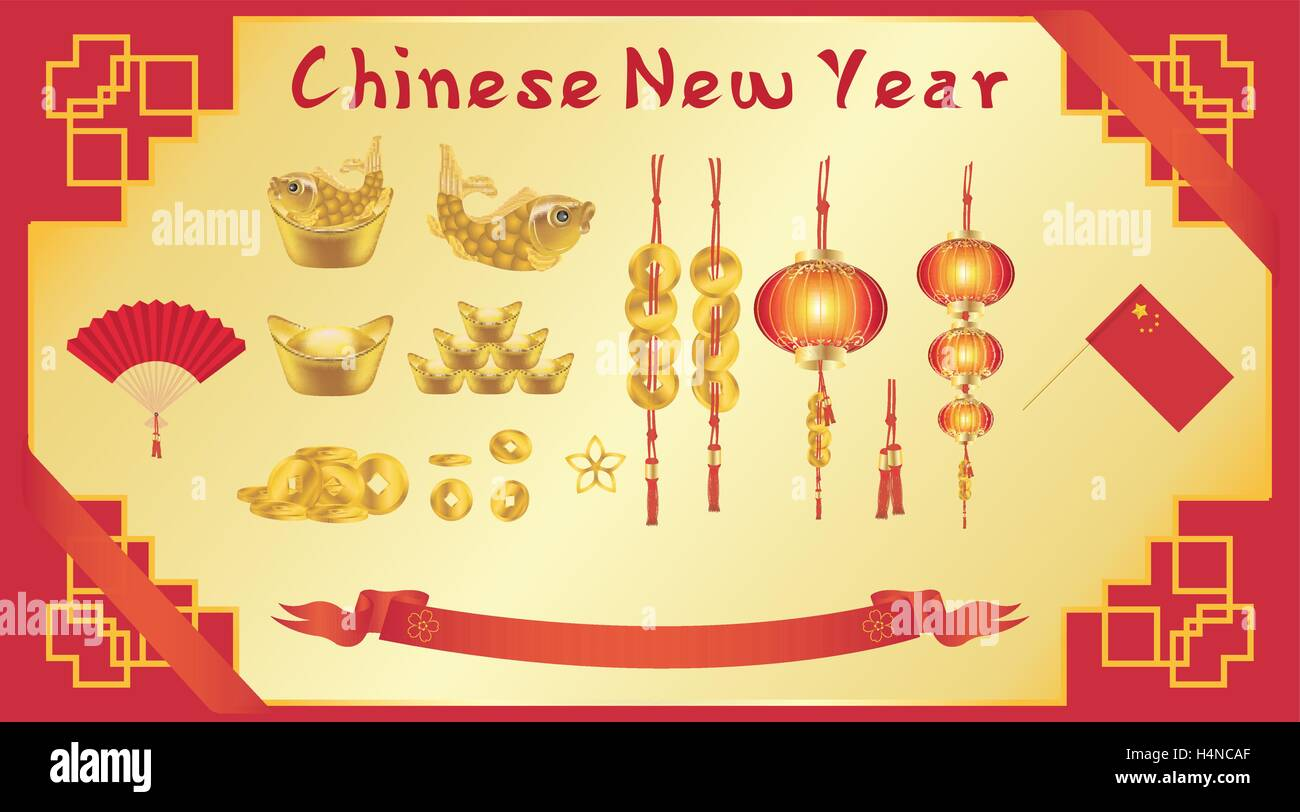 chinese new year card with chinese fan gold ingot - Chinese New Year Card
