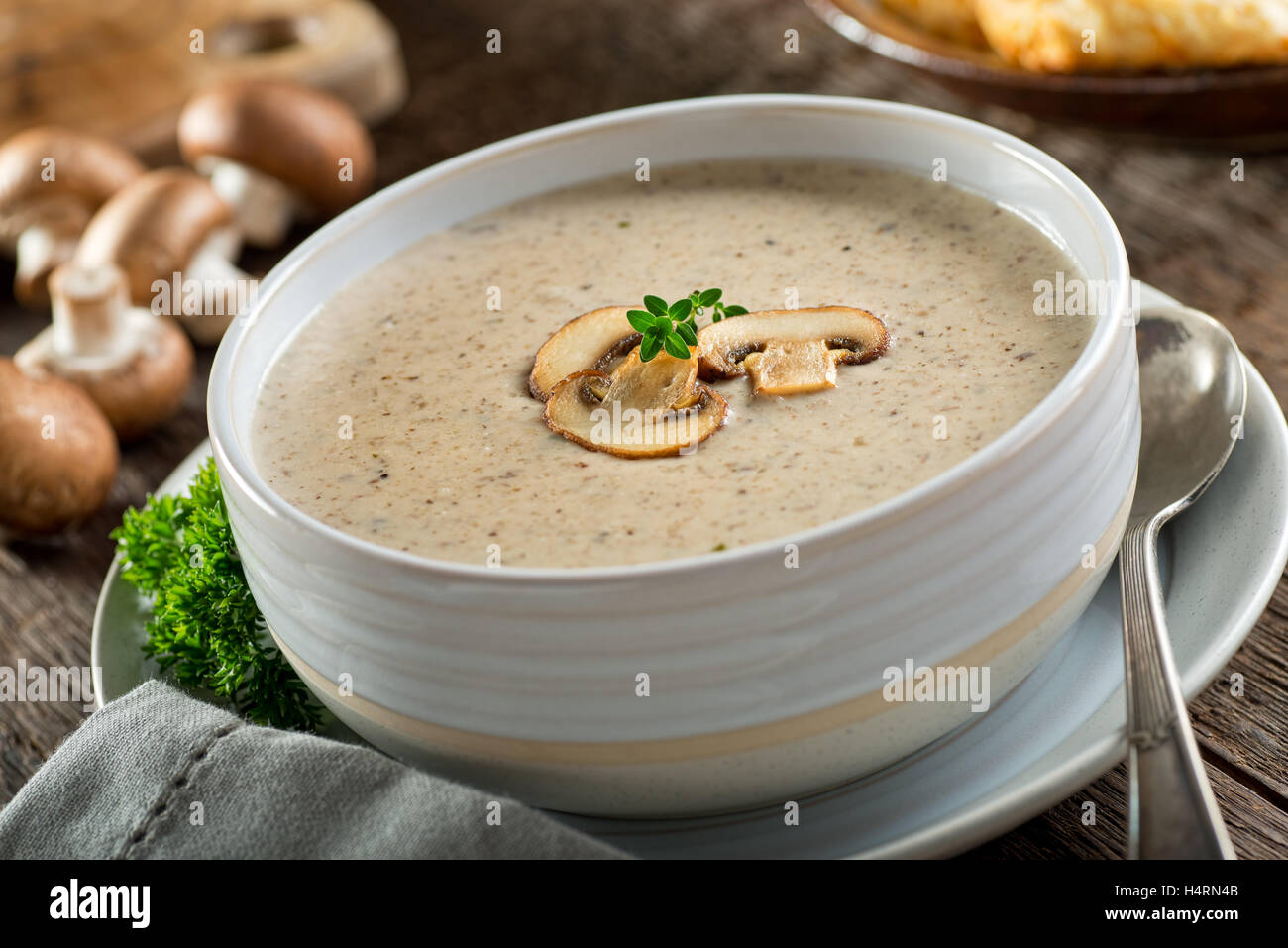 A Bowl Of Delicious Homemade Cream Of Mushroom Soup