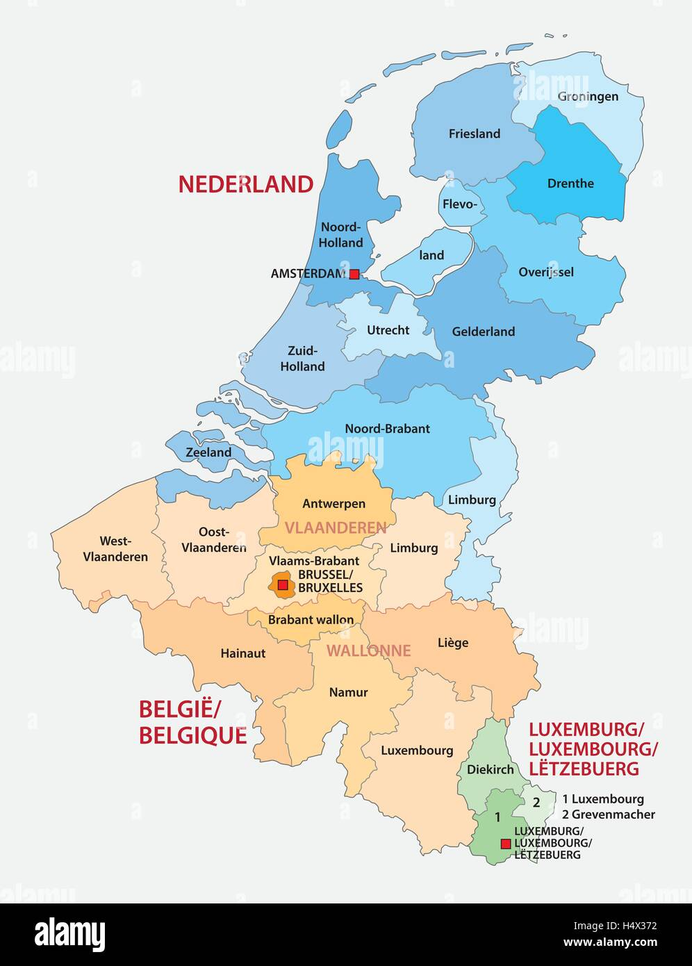 Administrative Map Of The Three Benelux Countries Netherlands - Luxembourg map vector