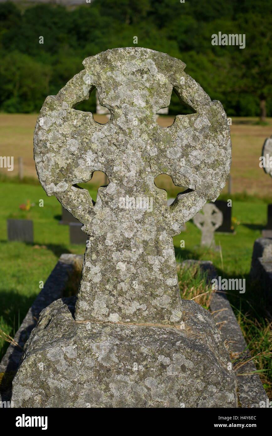 Celtic cross headstone in church stock photos celtic cross celtic cross in the graveyard of st marys church ystradfellte brecon beacons powys buycottarizona