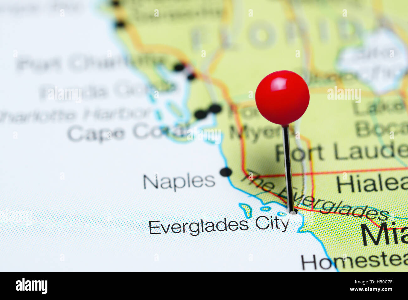 Everglades City pinned on a map of Florida USA Stock Photo