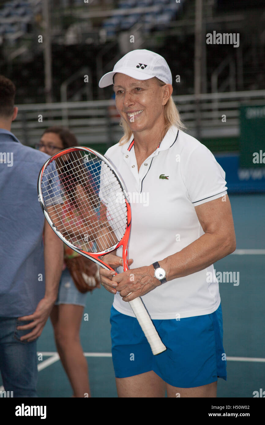 Martina Navratilova after her match at the Chris Evert Pro