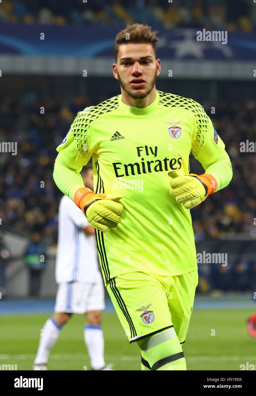 Kiev Ukraine 19th October 2016 Goalkeeper Ederson of Benfica