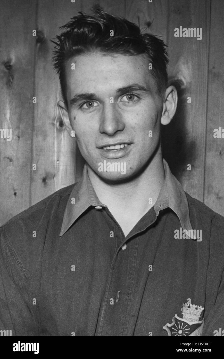 KURT HAMRIN young football player in Swedish AIK then silver Stock