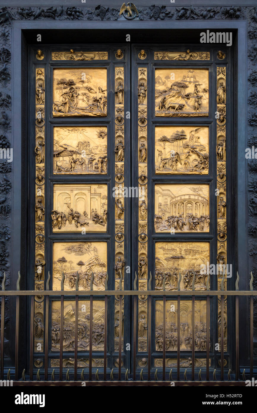 The East doors or Gates of Paradise by Lorenzo Ghiberti on the Baptistery near the Duomo in Florence Italy & The East doors or Gates of Paradise by Lorenzo Ghiberti on the ...