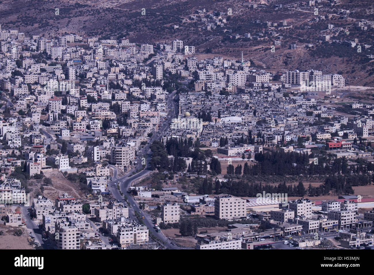 Aerial view of Askar Palestinian refugee camp located on ...