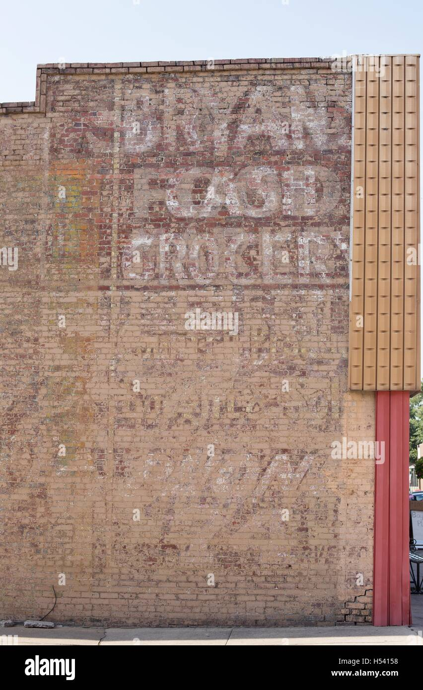 A Fading Advertisement On The Side O Brick Building In Historic Van Buren Arkansas USA