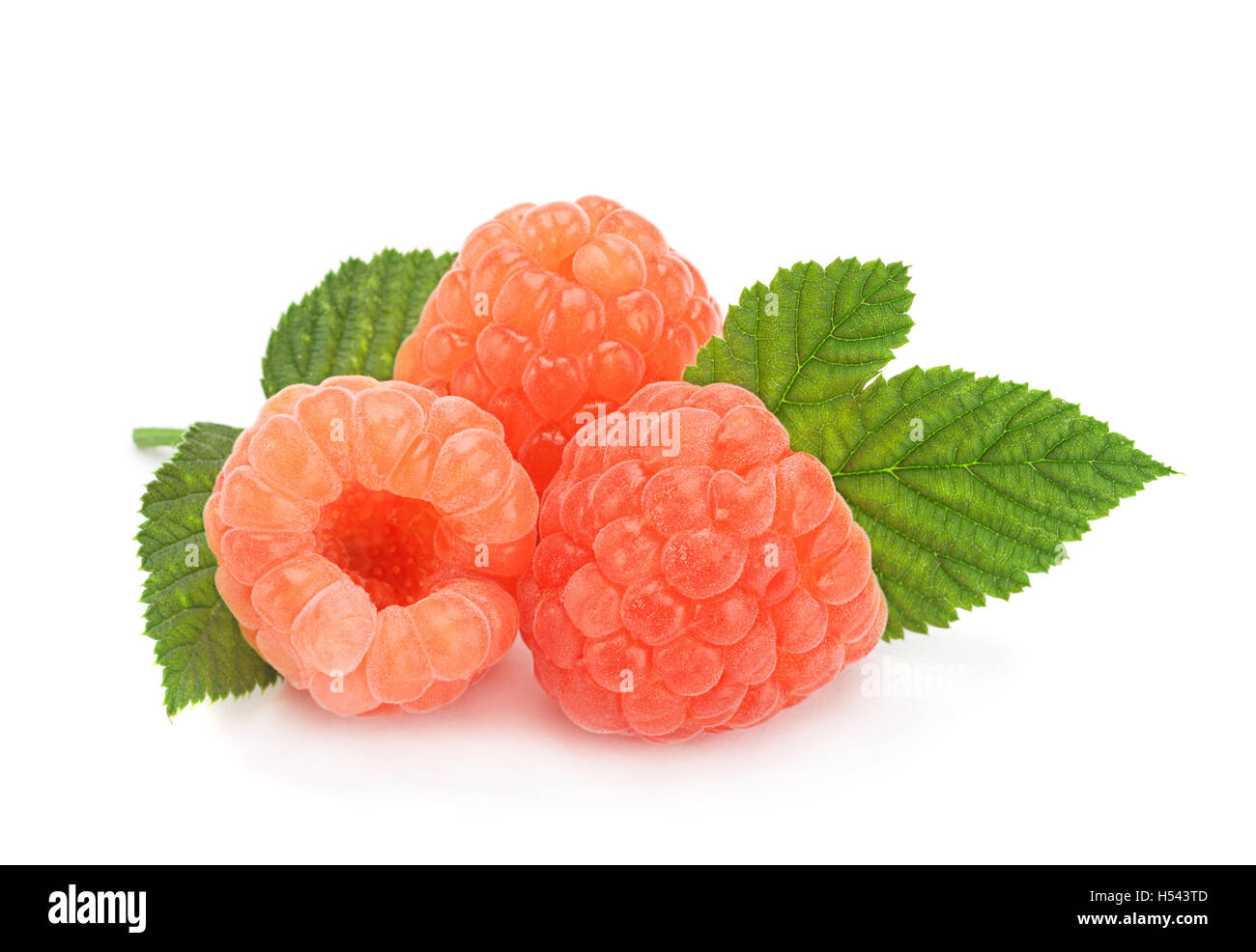 Ripe Raspberries With Leaves Closeup Isolated On A White ...