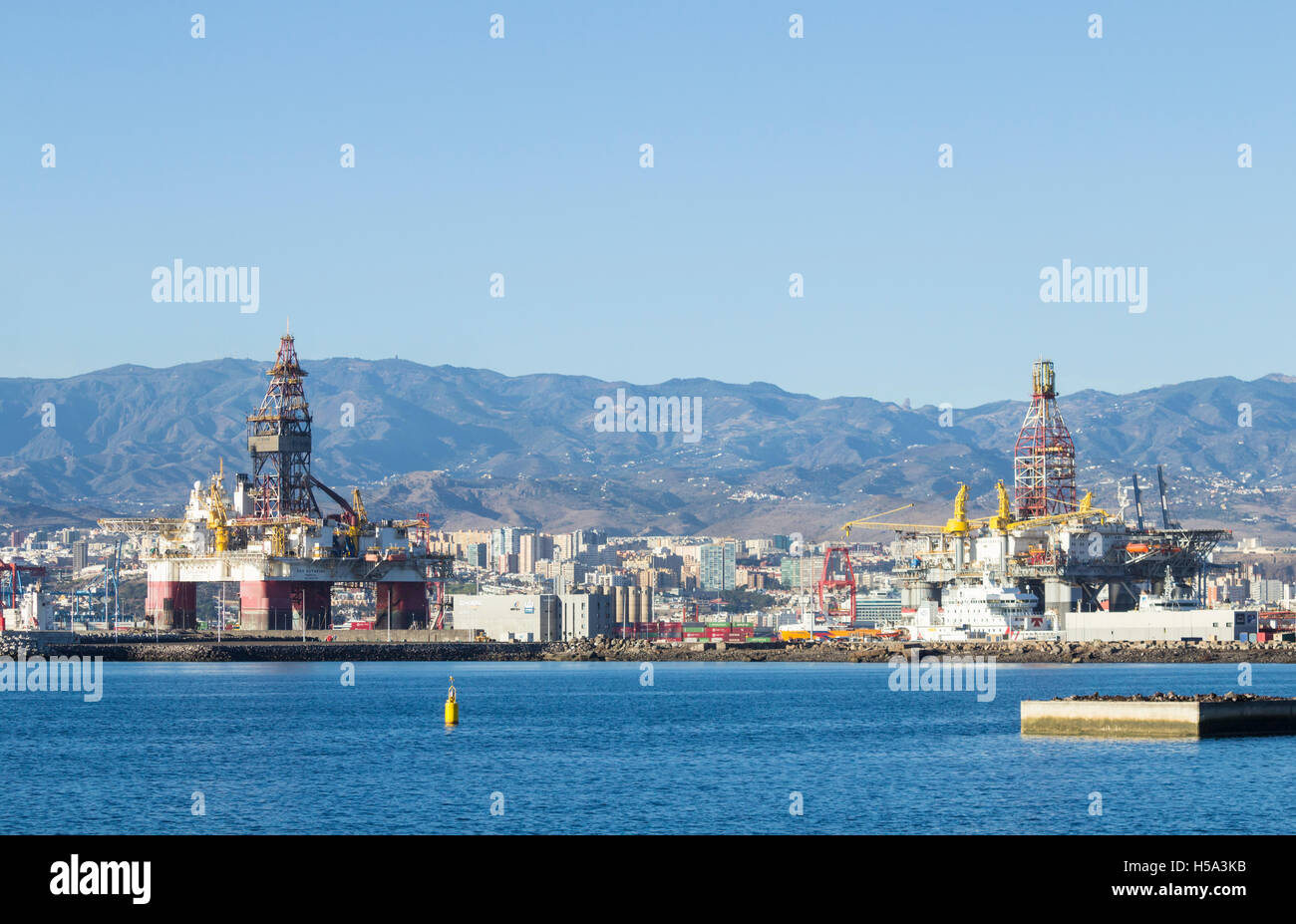 Oil rigs in las palmas port puerto de la luz on gran canaria with stock photo royalty free - Port of las palmas gran canaria ...