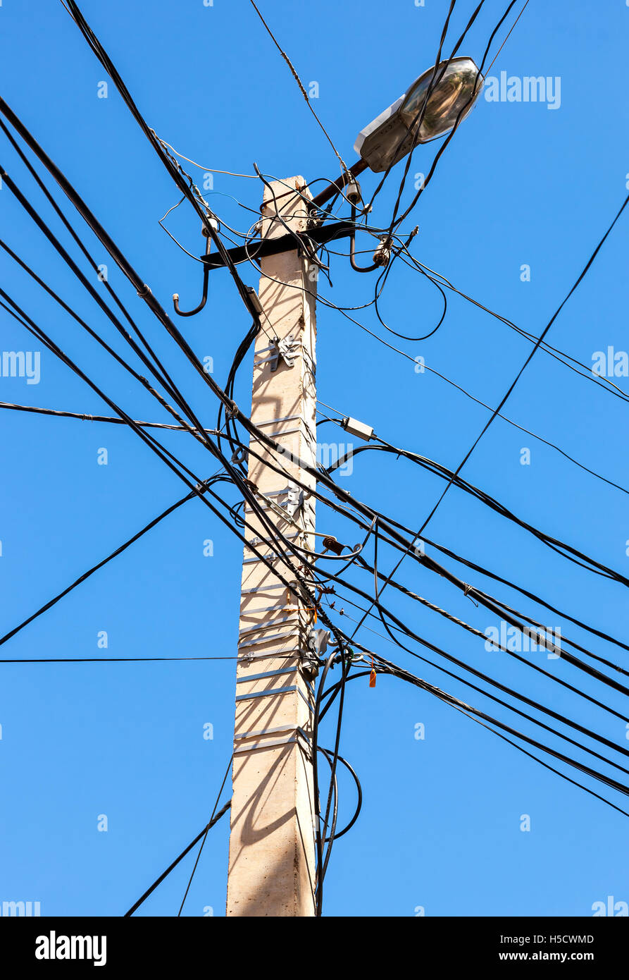 Electric power post with wire against bright blue sky Stock Photo ...