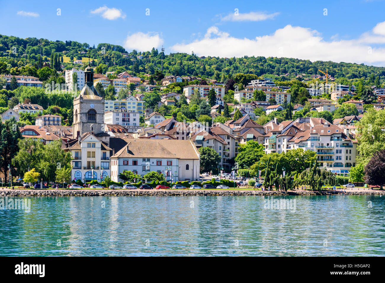 the pretty lake geneva waterfront of evian town vian les bains stock photo royalty free image. Black Bedroom Furniture Sets. Home Design Ideas