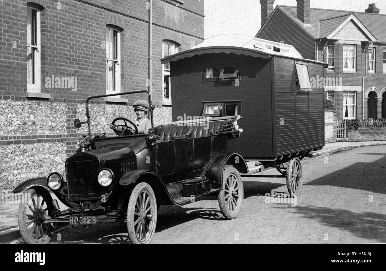 1921 ford model t with caravan stock image