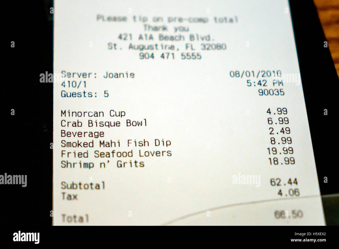 St. Saint Augustine Florida Sunset Grille Restaurant Bill Receipt Prices  Lunch  Bill Receipt