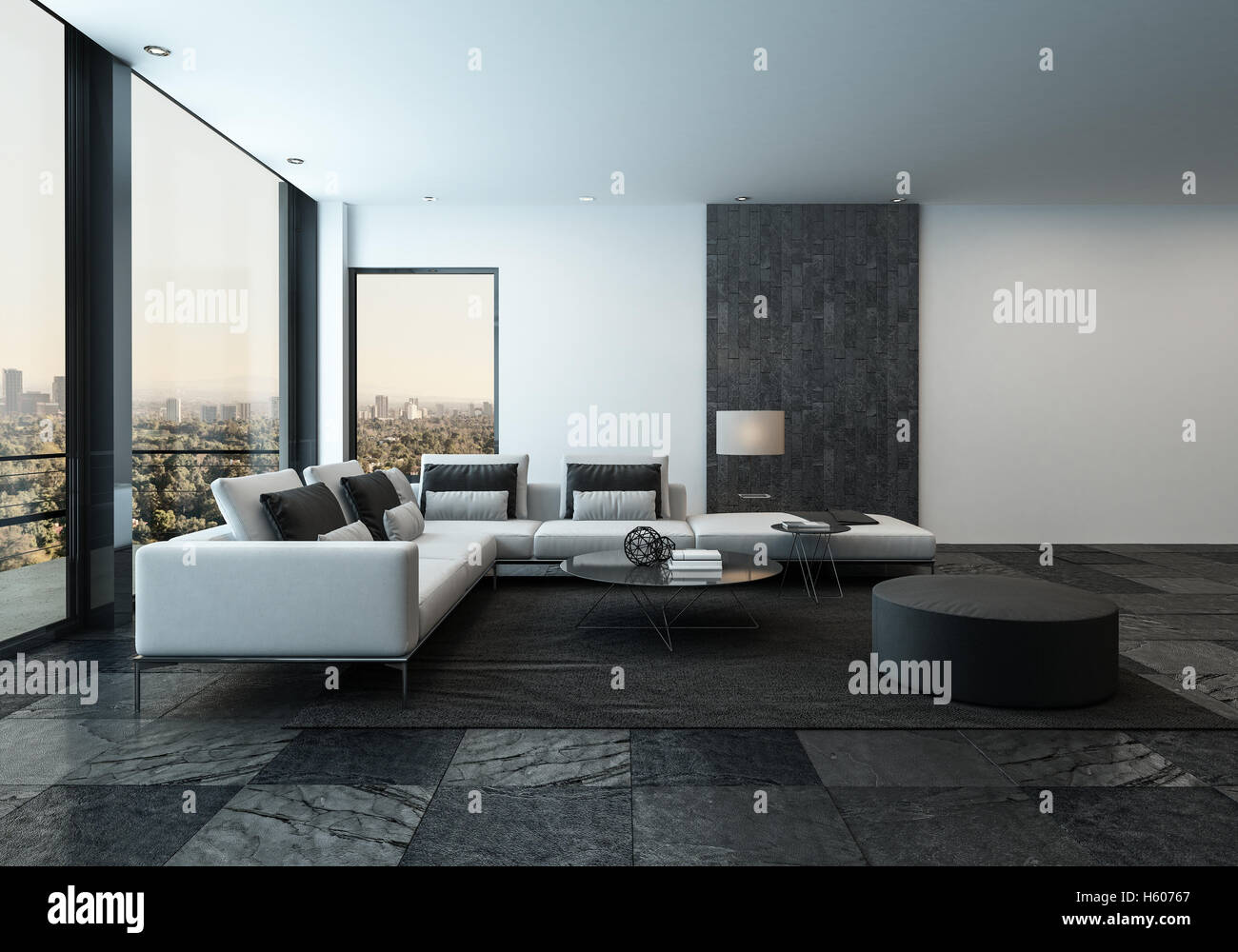 New Modern House Interior; 3D Rendering Of Spacious Minimalist Living Room  With Dark Stone Tiles And Windows Facing Urban City