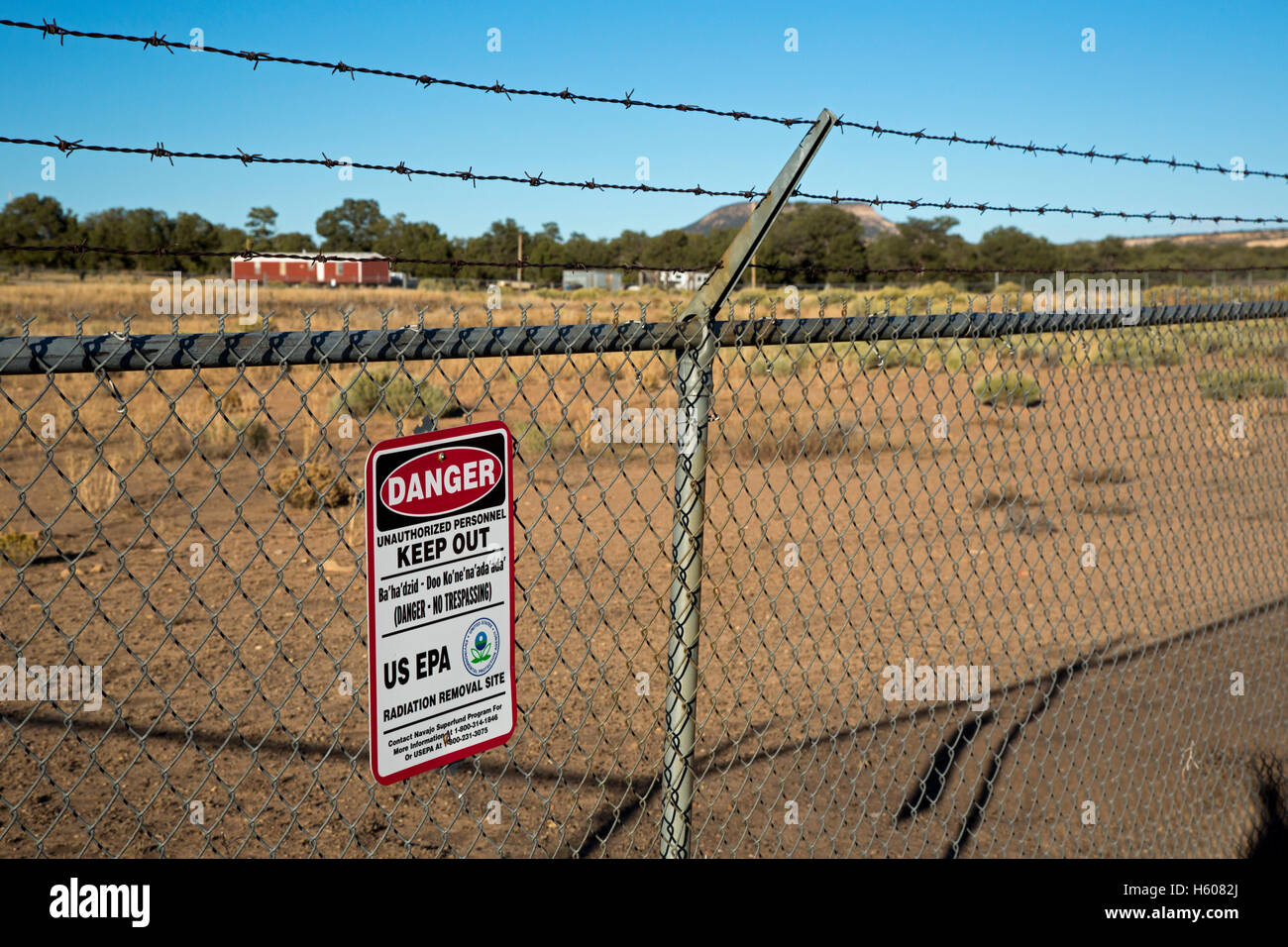 Mariano lake new mexico a sign warns of radiation danger on the site of