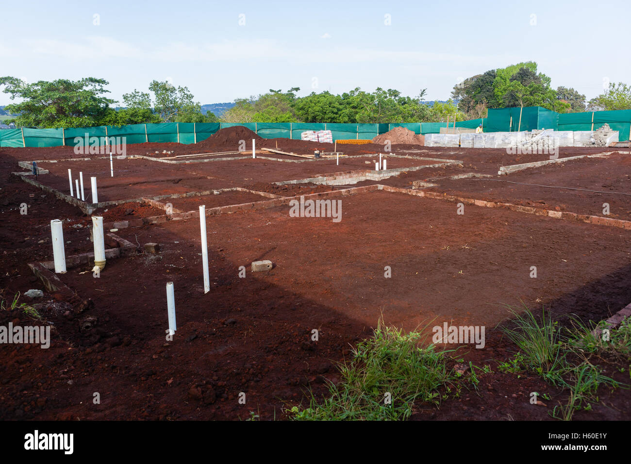 House Building Construction Foundations Layout Brickwork New Home In Progress
