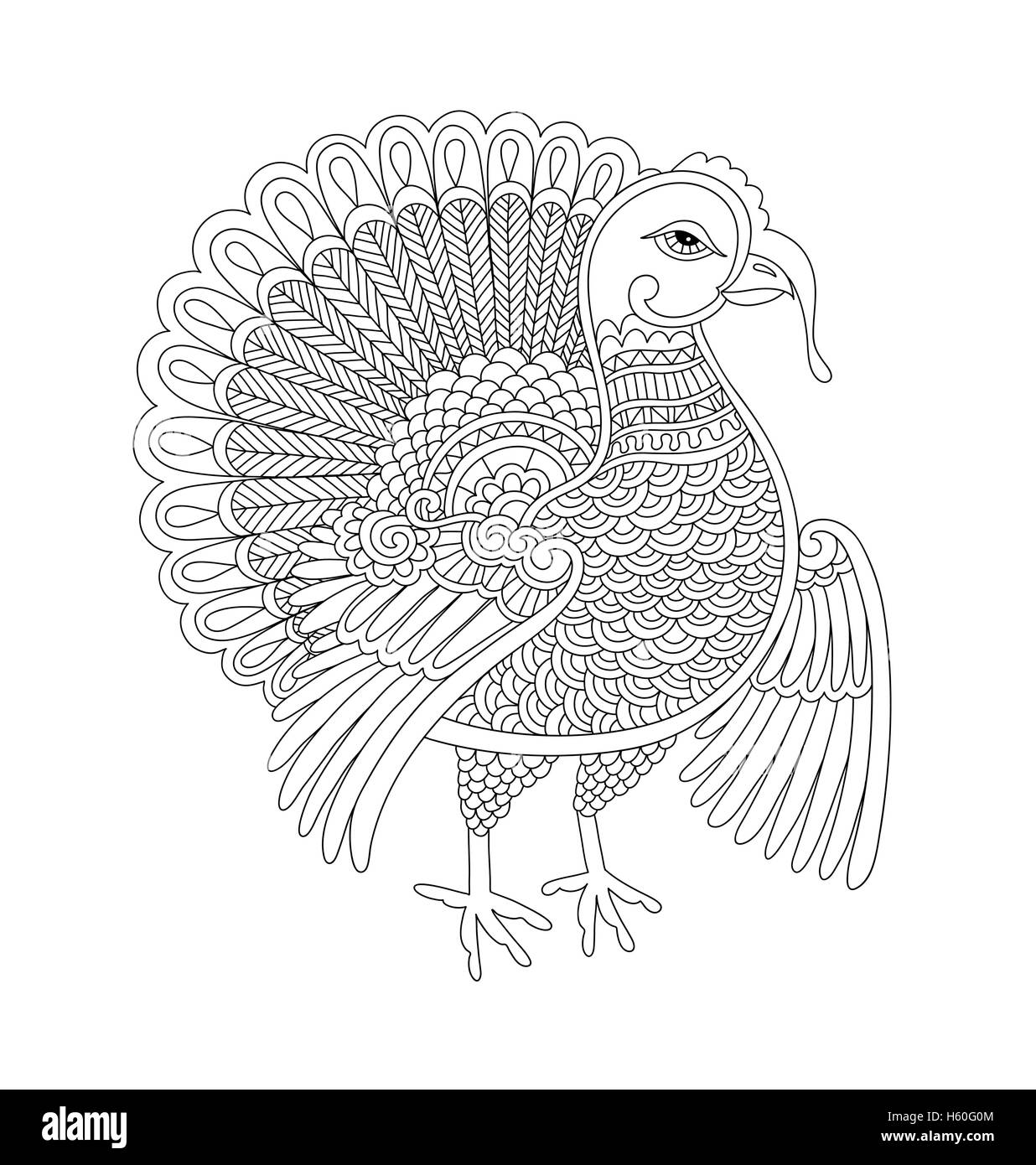 black and white line art turkey decoration for thanksgiving holi
