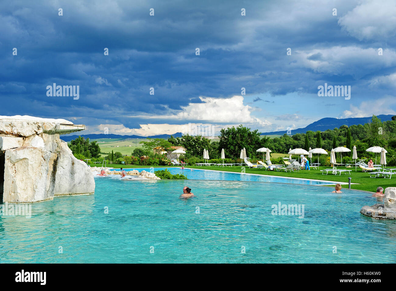 The main outdoor thermal pool of the Adler hotel in Bagno Vignoni ...