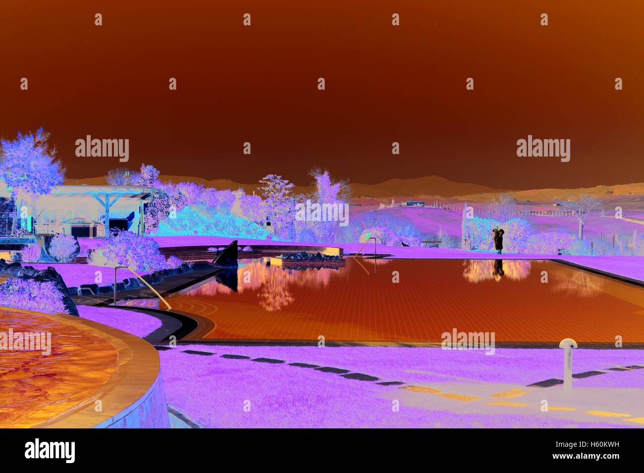 stock photo the thermal pools of the adler hotel in bagno vignoni surrounded by the breathtaking val dorcia countryside tuscany italy