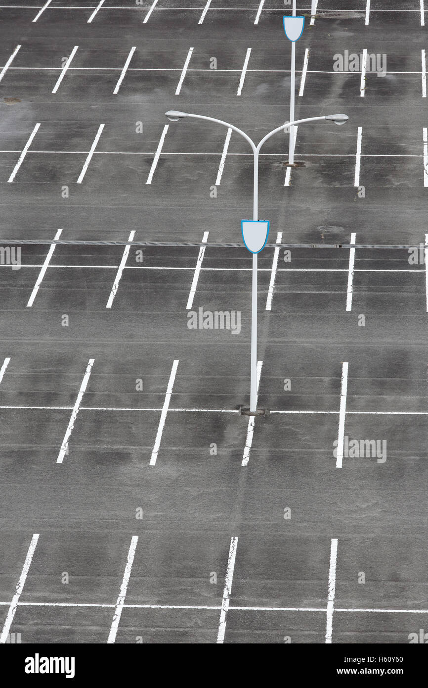 Vacant Car Parking Lot With White Mark And Light Pole Stock Photo