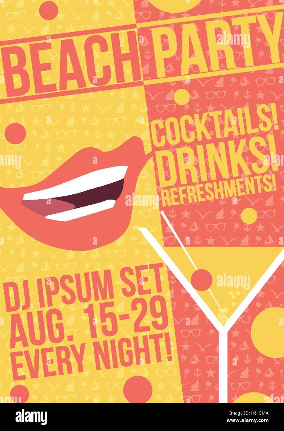 Poster design vector - Cocktail Party Retro Poster Design Vector Illustration
