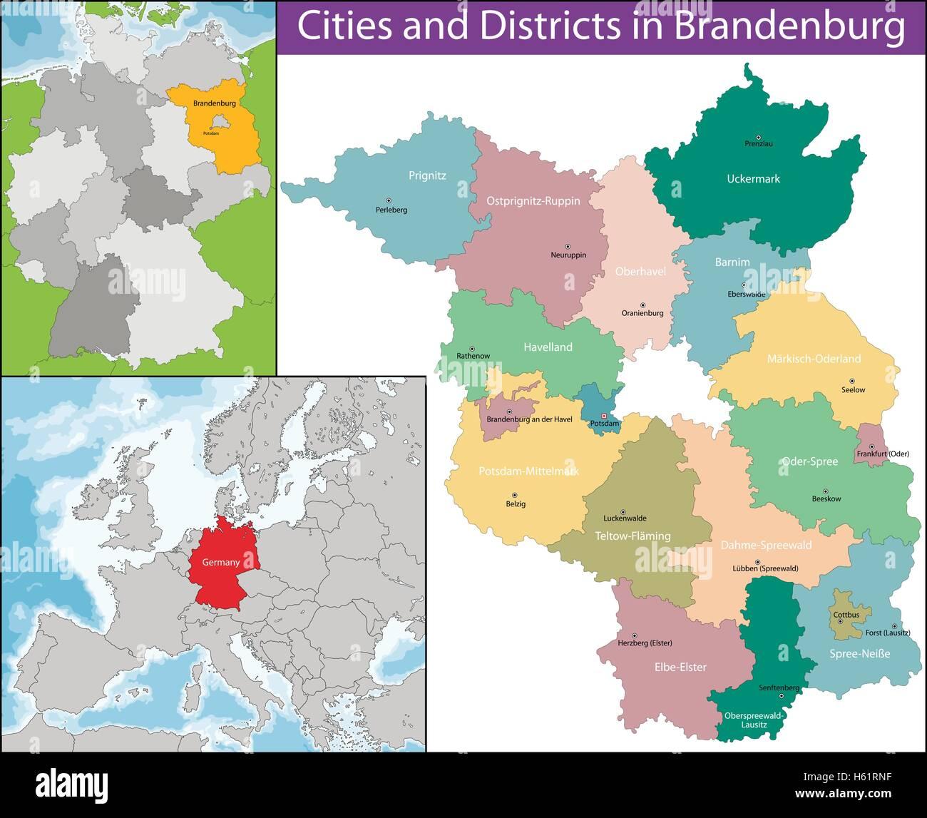 Map of Brandenburg Stock Vector Art Illustration Vector Image