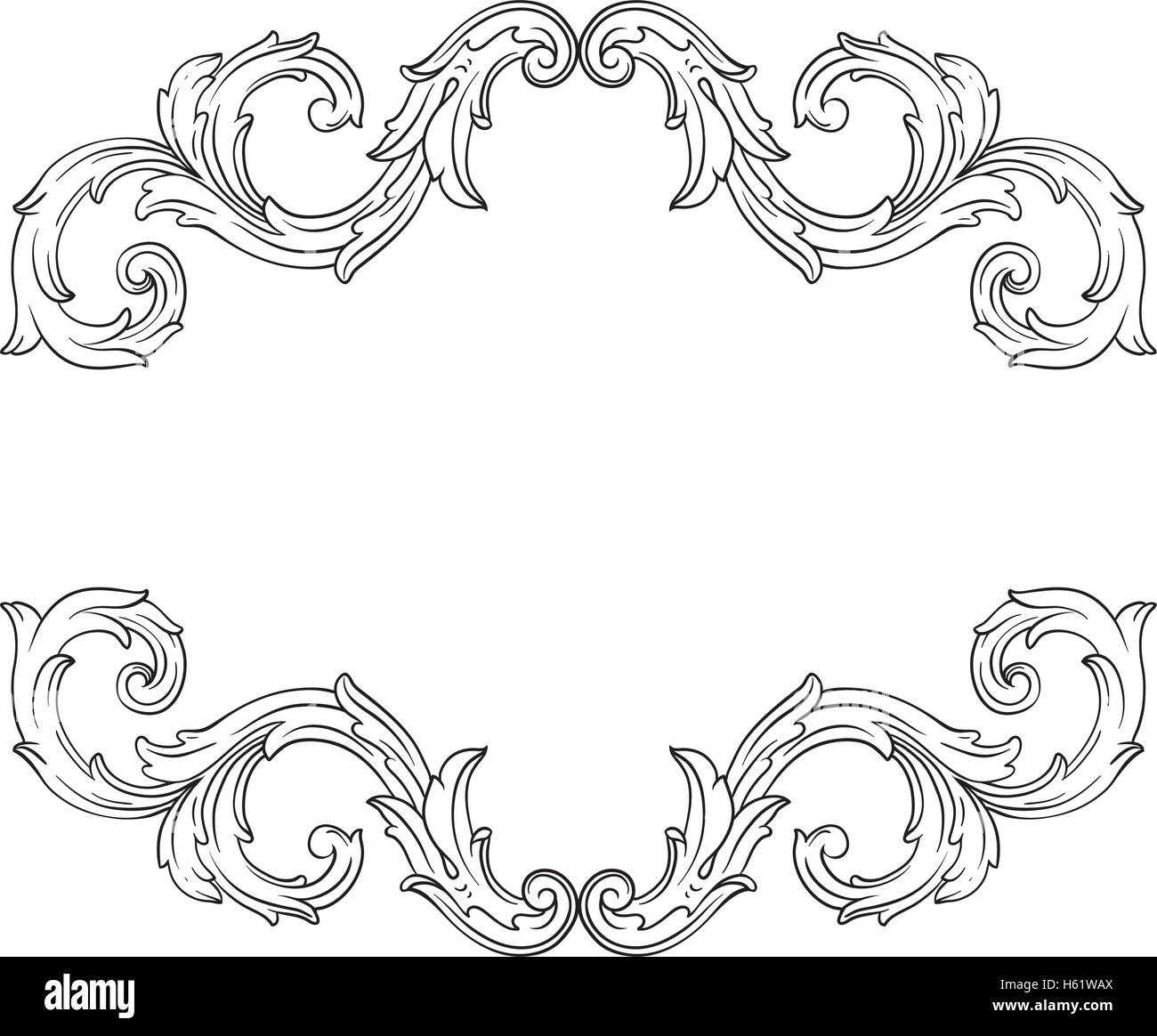 stock vector vintage baroque frame scroll ornament engraving border floral retro pattern antique style acanthus foliage swirl decorative desi