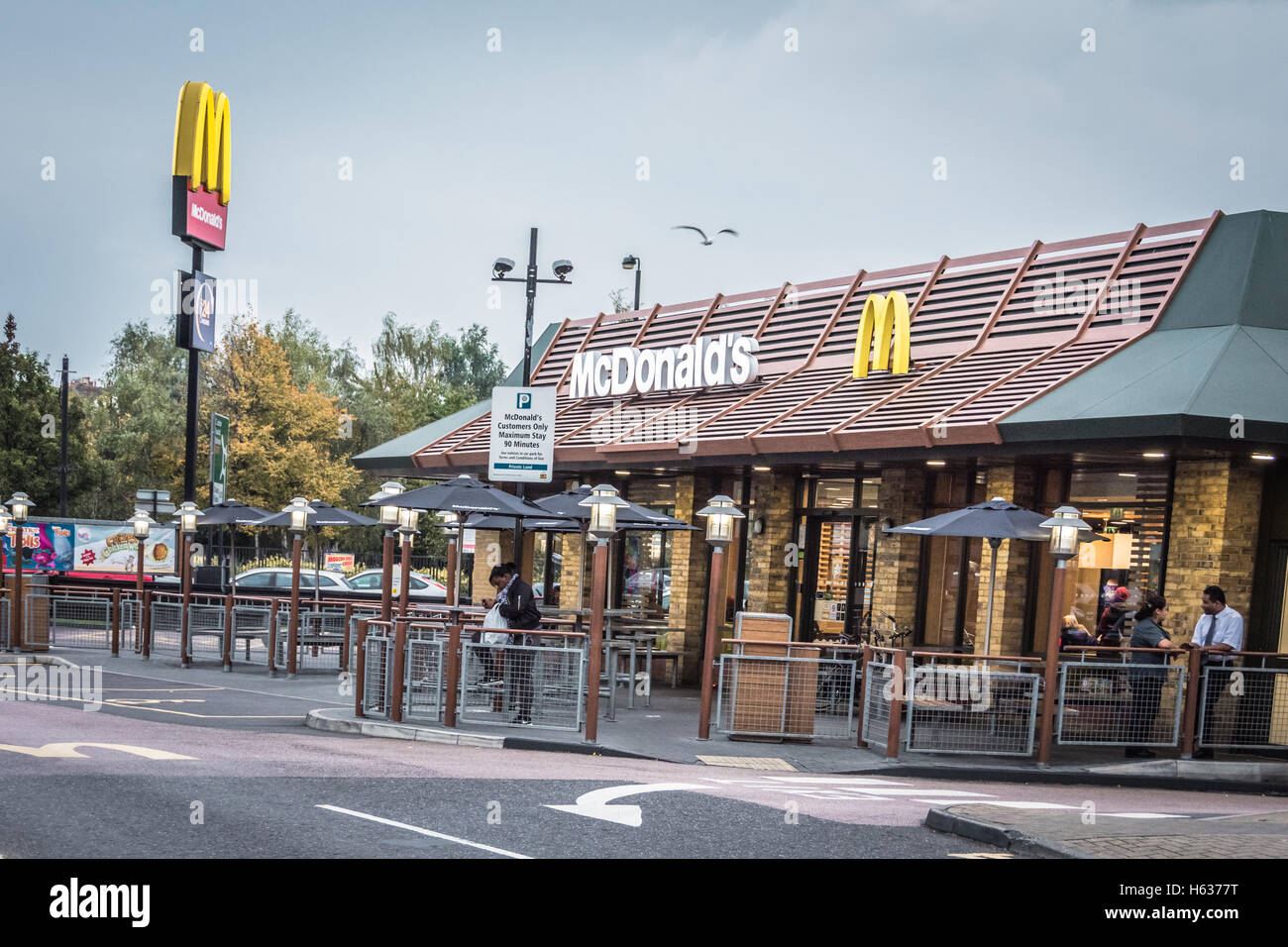 mcdonald 39 s drive through fast food restaurant in wandsworth london stock photo royalty free. Black Bedroom Furniture Sets. Home Design Ideas