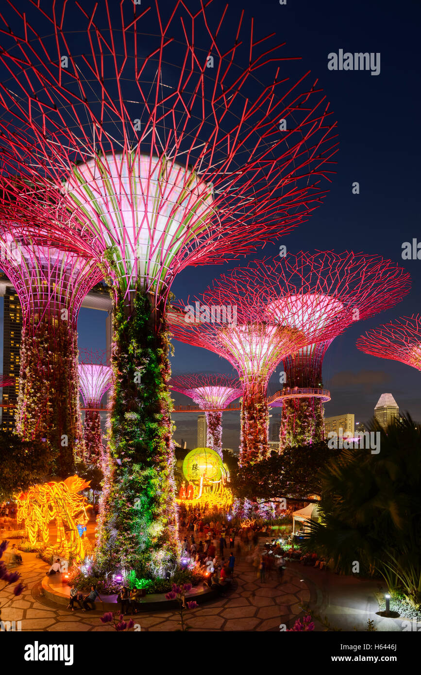 illuminated supertrees at garden by the bay singapore - Garden By The Bay Fireworks