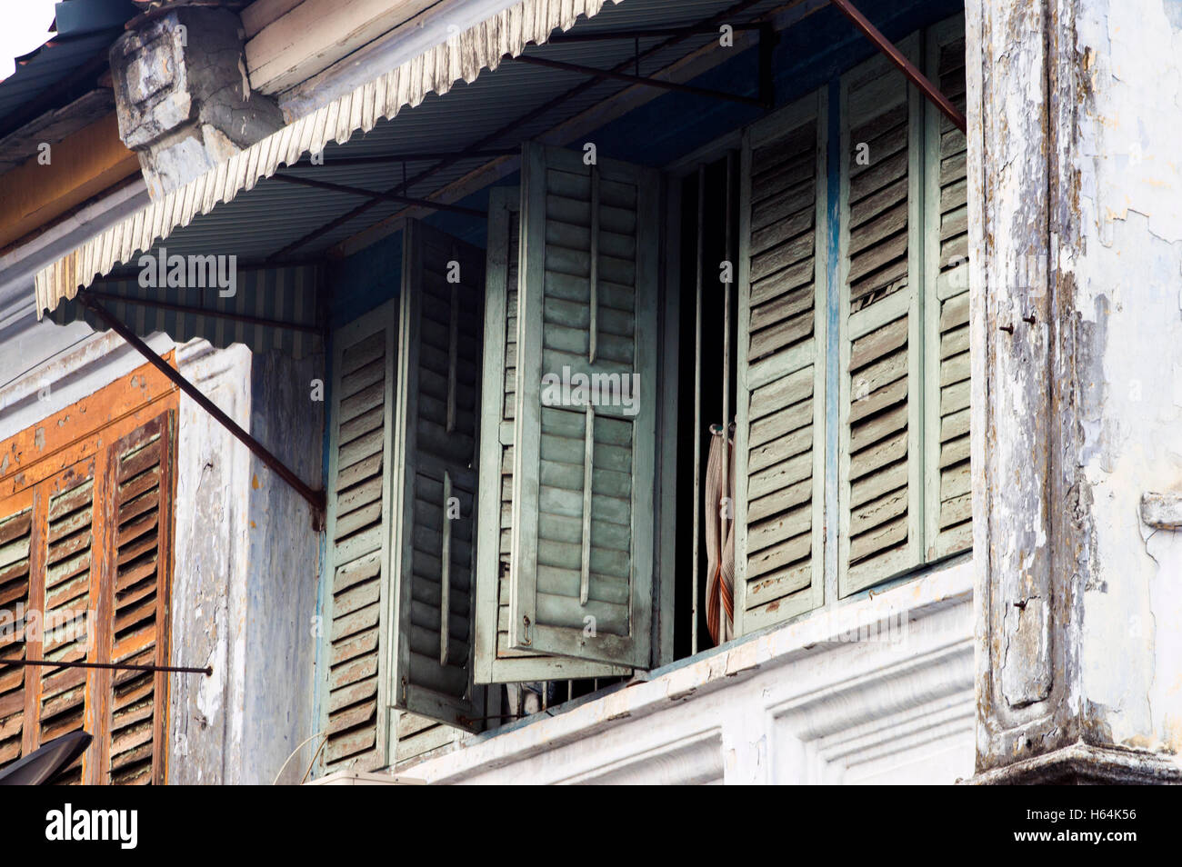 Upper floor terraxce house windows little india georgetown penang malaysia